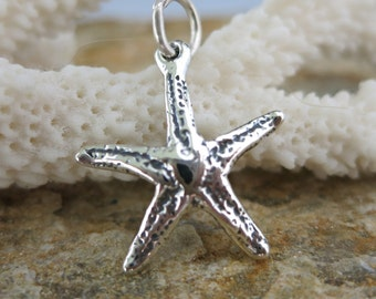 STARFISH CHARM, Sterling Silver 20mm with Jumpring, Ready to Ship!
