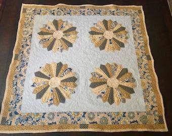 Handmade Dresden Plate Throw Quilt; Handmade Yellow, Gray & White Quilt