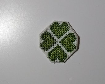 Clover cross stitch patch