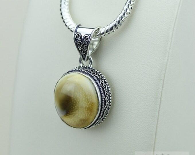 Shiva Shell Vintage Filigree Setting 925 S0LID Sterling Silver Pendant + 4mm Snake Chain & FREE Shipping p3389