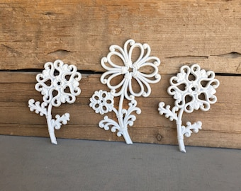 White flowers wall decor cottage chic Upcycled Wall Flowers set of 3 farmhouse nursery teenage bedroom decor