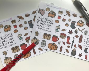 Fall Fun Planner Stickers/ Fall Stickers/ Planner Stickers/ Pumpkin Stickers/ Autumn Planner stickers/ Autumn Stickers/ Planner Supplies