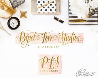 Watercolor logo design -  watercolor & gold logo  - calligraphy logo - Modern Script Logo - Freshmint Paperie