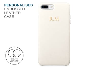 Ivory PU Leather Embossed Personalised Case iPhone X 8 PLUS 7 6 6S Initial Monogram Custom Personlised Cover Rose Gold Silver Embossing