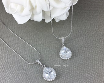 Set of 2 Necklace Gift for Moms CZ Necklace Mother of the Bride Mother of the Groom Cubic Zirconia Necklace Gift for Her Wedding Jewelry