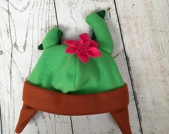 Adult Size Cactus Fleece Hat, Womans Cactus Hat, Cactus Lover Gift, Adult Size Cactus Hat, Winter Cactus Hat, Cactus Winter Fleece Hat