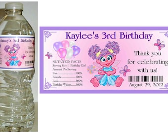20 Sesame Street ABBY CADABBY Birthday Party water bottle labels ~ glossy ~ waterproof ink