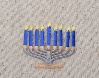 Menorah - Candelabra - 9 Lights - Chanukah - Iron on Applique - Embroidered Patch - 695877-A