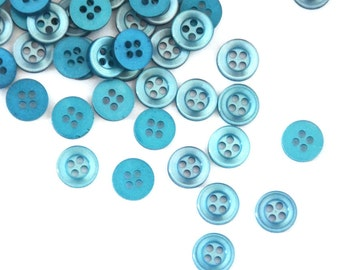 "Small Teal Blue Buttons 10mm (0.4"") · 50 Blue Buttons"