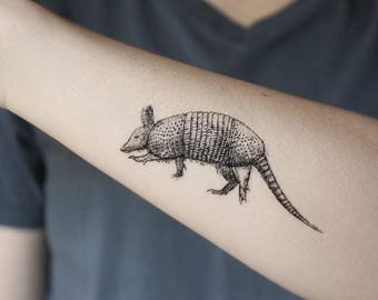 Armadillo Temporary Tattoo, Black Ink, Animal Tattoo, Nature Tattoo