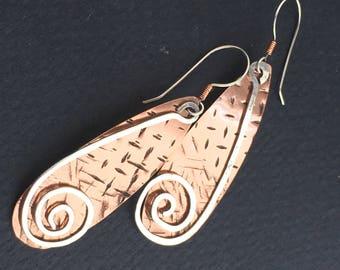 Hammered Copper Teardrop and Sterling Swirl Earrings