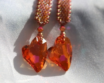 """Hand beaded 3 1/2"""" long Dangle earrings with Swarovski Crystal , Astral Pink Devoted to U Hearts, 14 kt gold filled earwires"""