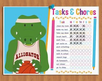 Printable Kids Chore Chart, Behavior Chart, Task List, Chore chart for kids, To do List Reward Chart Wall Chart Weekly Planner Routine Chart