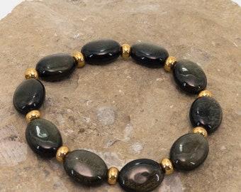 Gold Sheen Obsidian and Gold Vermeil Bracelet