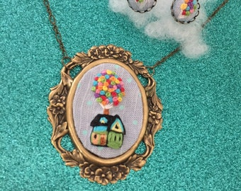 Up necklace and earring SET - house, balloons, adventure is out there