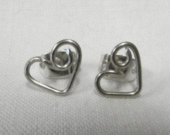 Heart Post Stud Earrings  - Silver Golden Post Earrings  - Friendship Jewelry - Friendship Post Earrings