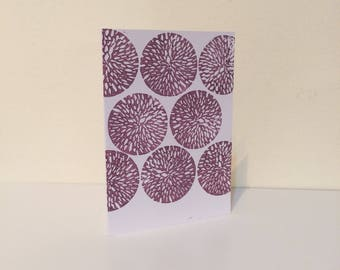Block print card with flower design
