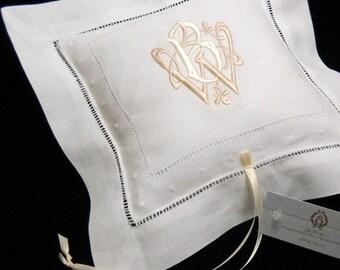 Ring bearer Pillow Irish linen monogram ring bearer pillow Personalized ring pillow jfyBride Style 6141