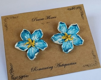 Blue Flower Silver Earring Studs, Handcrafted Floral Jewelry