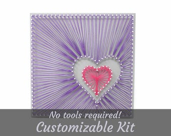 Off-Center Hearts, String Art Kit, Craft Kit, String Art, Easy DIY Craft, Custom String Art, Wall Decor, Wood Wall Decor, Love String Art
