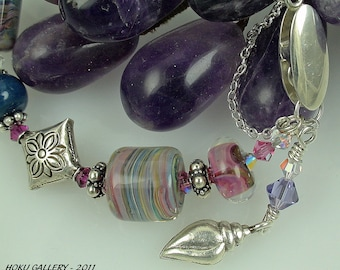 """Lampwork Glass Bracelet with Thai Silver Pillow Beads - Teal Rainbows - 6 1/2"""""""