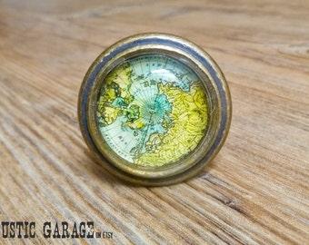 "1.5"" Old World Globe Map Knob - Aqua Blue and Yellow Atlas Glass Knob - Nautical Adventurer Nursery Decor - Sailor Ocean Traveler's Knob"