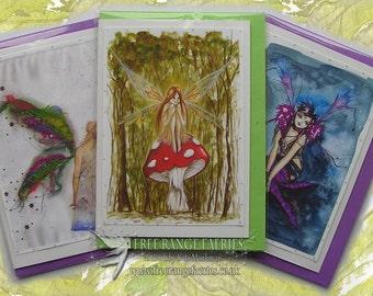 Fairy Cards, Handmade Cards, Bestsellers Card Pack, Glitter fairy greetings card, Birthday Card, Note Card, Woodland, Fairy Art Cards