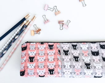 Cat Lover Gift, School Supplies, Pencil Pouch, Zipper Pouch, Cat Mom Gift, Desk Organizer, Gift for Women, Pencil Case, Pink, Black, Grey,