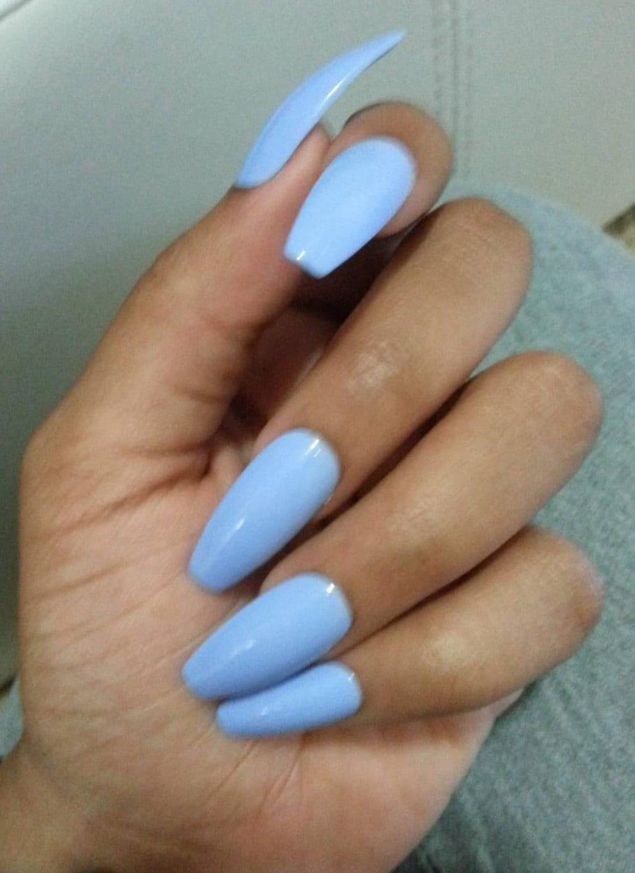 Matte Light Blue Coffin Nails, Pastel Blue Press/Glue on, Long or ...