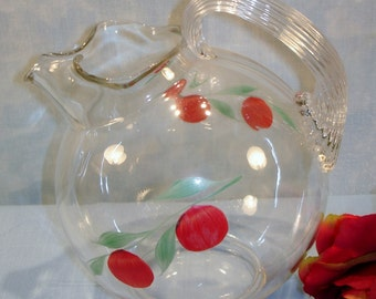 Ball Jug Crystal Pitcher with Handpainted Cherries