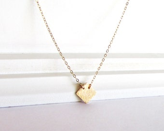 Gold Necklace, Gold Diamond Shape Necklace,Rose Gold, Silver Jewelry, Everyday Wear, Layering Necklace, Minimal Jewelry, Gold Jewelry