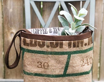 Burlap tote bag-eco friendly tote bag-repurposed coffee bag-farmhouse coffee bag-tote bag-burlap coffee bag purse-tote bag-recycled bag