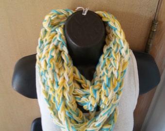 Crochet Infinity Scarf  Yellow Blend