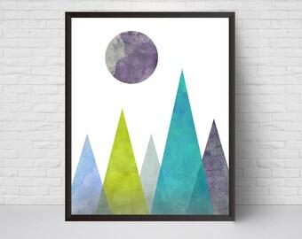 Geometric Mountain and Moon Wall Art Print, Printable Art, Mid Century Modern Art, Wall Decor, Abstract Art Print, Scandinavian Teal Blue