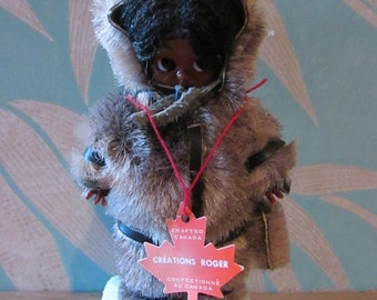 "Vintage ""Créations Roger"" cute kewpie-style Inuit souvenir doll, made in Canada"