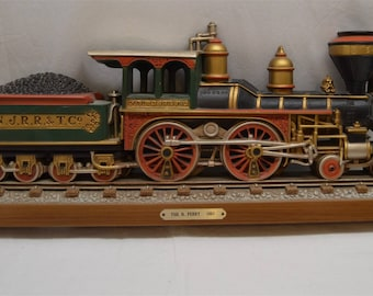 "Vintage Burwood 1978 Steam Locomotive Train Railroad Collectible Wallhangings Lot N. Perry 1867 or The Philadelphia 1871  24.5""L x 10""T"