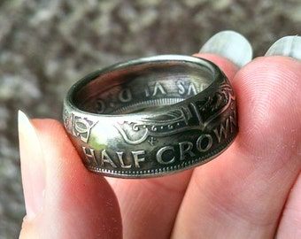 Half Crown Coin Ring - 1948 British Half Crown Coin Ring - Size: 10 1/2