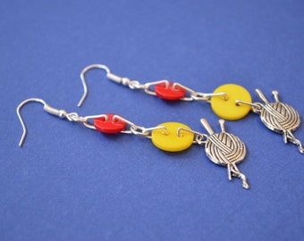 Red and Yellow Button Bothy Charm Earrings Knitting Ball of Wool Knitting Needles Knitter Sterling Silver Ear Hooks (CE14)