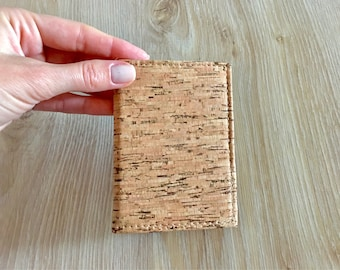Natural Cork Card holder wallet with 4 pockets, eco-friendly gift, gift for him, wallet, cork-material