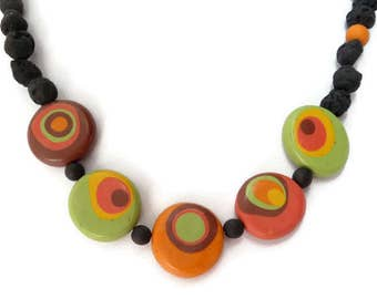 African Necklace, Yellow Necklace Green, Brown Necklace Black, Boho Polymer Necklace, Brown Orange Necklace, Brown Necklace Green, Faux Lava