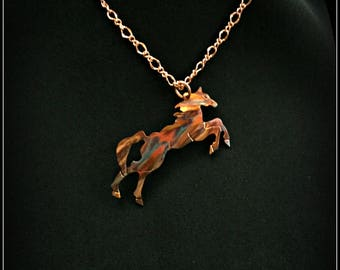 horse necklace, horse pendant, horse jewelry, cowgirl necklace, country western, wild horses, equine, equestrian, rodeo rider, flame painted