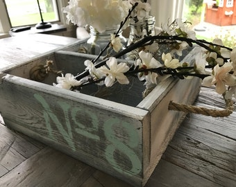 Rustic Wood Cubby Centerpiece with Rope Handles