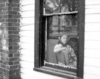 NoDa 1977 Girl in the Window - Original Black & White Photography Print,  8 1/2 X 11