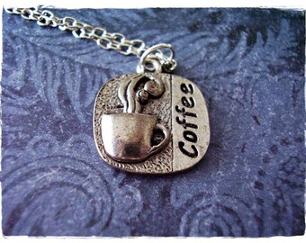 Silver Coffee Necklace - Antique Pewter Coffee Charm on a Delicate Silver Plated Cable Chain or Charm Only