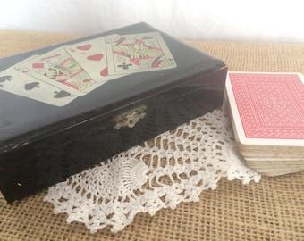 Shabby Vintage Black Lacquer Playing Card Box, Bridge, Poker, Trinket Box, Jewelry Box, JAPAN, 1950's