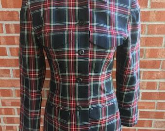 Vintage Metaphor green, black, and red plaid blazer. Size 2 (XS)