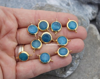 1   connector turquoise Blue jade 10mm bezel links 22k gold plated brass connectors 16mm pendant jewelry turkish supplies mrl16