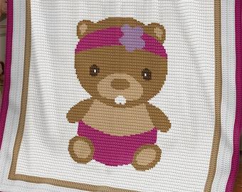 CROCHET Pattern - Baby Blanket - Beaver - Crochet Graph - Beaver Crochet Pattern - Afghan Crochet Pattern - Beaver Crochet Graph