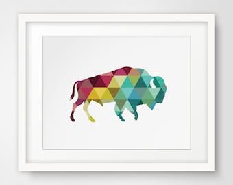 Buffalo Print, Buffalo Art, Geometric Buffalo, Buffalo Wall Art, Geometric Print, Triangle Wall Art, Colorful Decor, Colorful Buffalo Decor