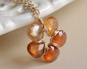 Hessonite Garnet Necklace, Autumn Jewelry, Burnt Orange Gemstone, Flower Pendant, Sterling Silver or Gold Filled, Free Shipping